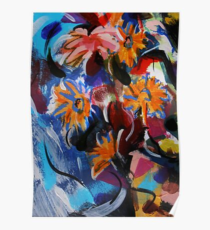 Falling Flowers in Water Fall - painting by Jenny Meehan Poster