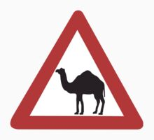 Caution Camels, Traffic Sign, United Arab Emirates Kids Tee