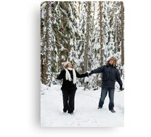 Couple in forest Canvas Print
