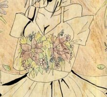 Rie Fumiko with  flowers Sticker
