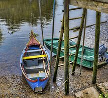 Boats in Tagus Affluent by pescas