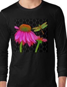 Flower Pop, floral Pop Art Echinacea, dragonfly Long Sleeve T-Shirt
