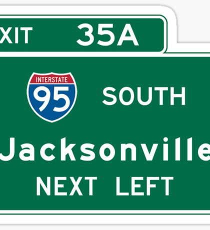 Jacksonville, FL Road Sign, USA Sticker