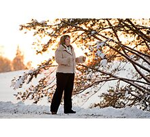 Woman on winters sunset Photographic Print