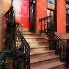 Greenwich Village Brownstone with Red Door by Susan Savad