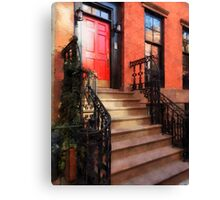 Greenwich Village Brownstone with Red Door Canvas Print