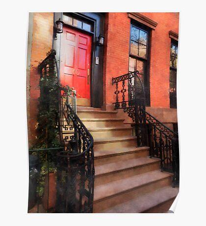 Greenwich Village Brownstone with Red Door Poster