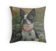 Boston Terrier in the Park Throw Pillow
