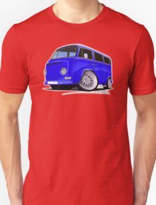 VW Bay-Window Camper Van (D) Blue T-Shirt