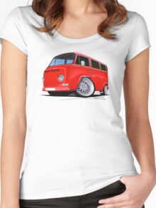 VW Bay-Window Camper Van (D) Red Women's Fitted Scoop T-Shirt