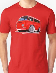 VW Bay-Window Camper Van (D) Red T-Shirt