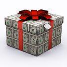 USD Present Box with Red Ribbon by Atanas Bozhikov Nasko