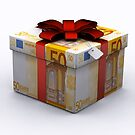 EURO Present Box with Red Ribbon by Digital Editor .