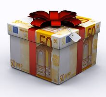 EURO Present Box with Red Ribbon by Nasko .