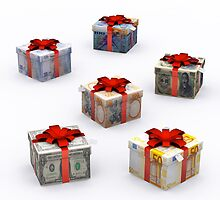 Currencies Present Box with Red Ribbon by Digital Editor .