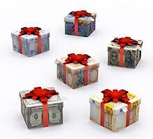 Currencies Present Box with Red Ribbon by Atanas Bozhikov