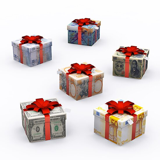 Currencies Present Box with Red Ribbon by E ROS