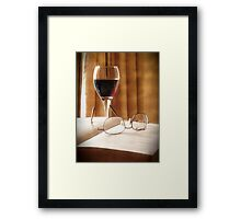A Book & Glass of Wine Framed Print