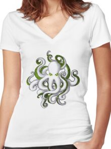 Mutant Zombie Dectopus Women's Fitted V-Neck T-Shirt