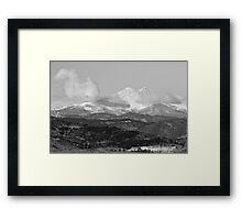 Longs Peak Circling Clouds BW Framed Print