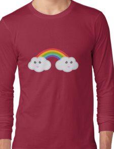 Kawaii clouds and rainbow Long Sleeve T-Shirt