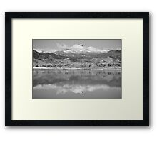 Colorado Longs Peak Circling Clouds Reflection BW Framed Print