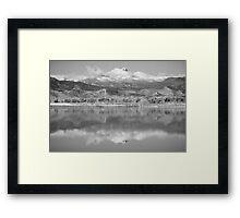Colorado Longs Peak Circling Clouds Reflection BW Framed Print