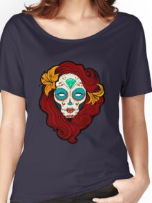 Sugar Skull Girl in Burgundy, White and Green Women's Relaxed Fit T-Shirt