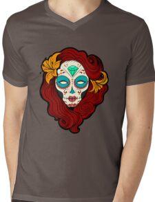 Sugar Skull Girl in Burgundy, White and Green Mens V-Neck T-Shirt
