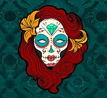 Sugar Skull Girl in Burgundy, White and Green by headpossum