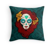 Sugar Skull Girl in Burgundy, White and Green Throw Pillow