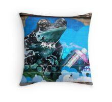 Frog Graffiti, Vienna, Austria Throw Pillow