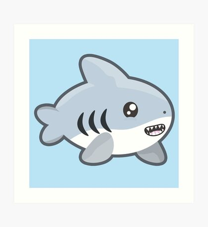 Kawaii Shark Art Print