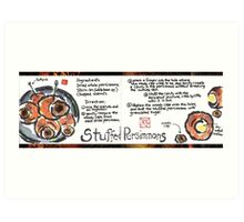 Illustrated Recipe: Stuffed Dried Persimmons Art Print