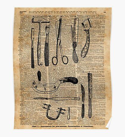 Antique Surgical Kits,Anatomy Medical Instruments,Surgery Asylum Vintage  Decoration,Dictionary Art, Poster