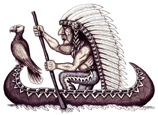 Indian with eagle on the canoe black and white pen ink drawing by Vitaliy Gonikman