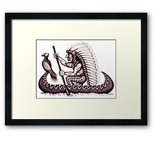 Indian with eagle on the canoe black and white pen ink drawing Framed Print