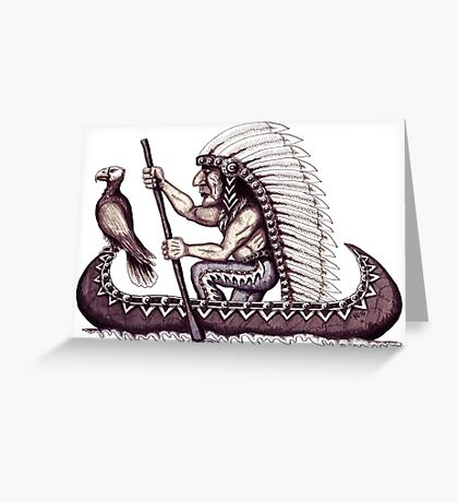 Indian with eagle on the canoe black and white pen ink drawing Greeting Card