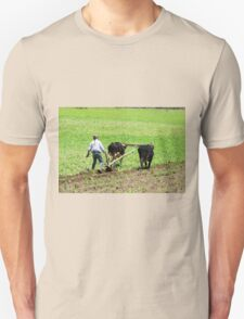 Using Oxen to Plow a Field Unisex T-Shirt