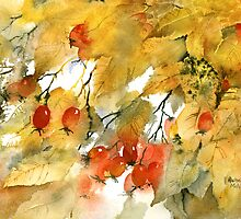Autumn Leaves and Berries by artbyrachel