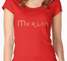 Merlin text Women's Fitted Scoop T-Shirt