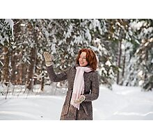 Woman in forest Photographic Print