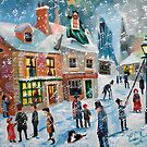 A Christmas Carol Scrooge winter snow lamplighter oil painting  by gordonbruce