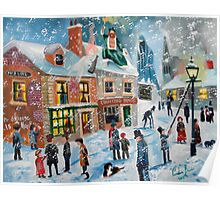 A Christmas Carol Scrooge winter snow lamplighter oil painting  Poster