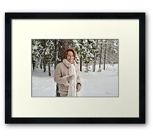Woman in forest Framed Print