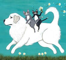 Great Pyrenees and Cats by Ryan Conners