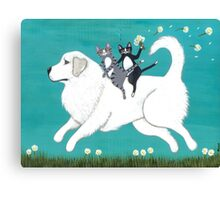 Great Pyrenees and Cats Canvas Print