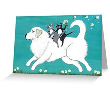 Great Pyrenees and Cats Greeting Card
