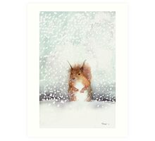 Red Squirrel in the Snow, or, Who Stole My Nuts? Art Print