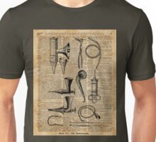 Vintage Medical Kits,Ear Instruments,Surgery Decoration,Dictionary Art,Zombie Apocalypse,Halloween,Card,Gift Unisex T-Shirt